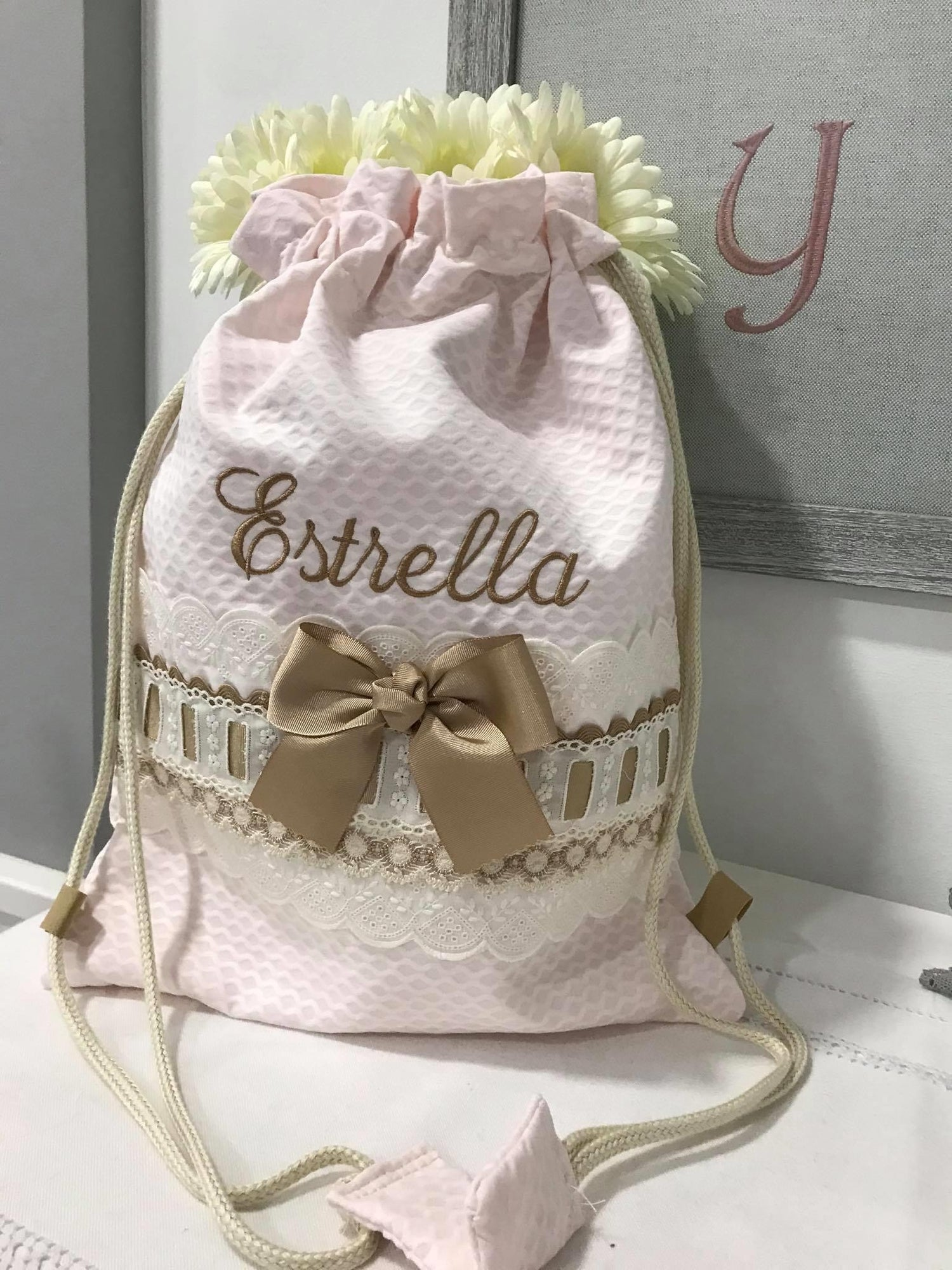 Image of Personalized draw string bags.