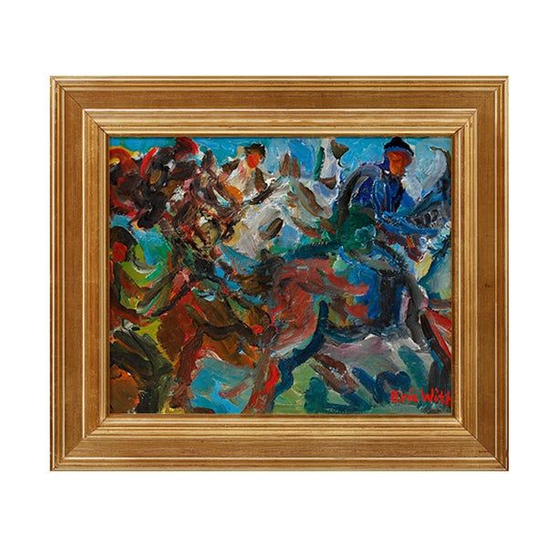 Image of Swedish, Mid-Century Painting. 'Horse Gallop.' Eric With