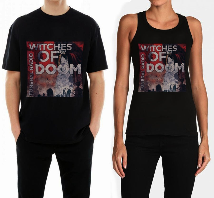 "Image of WITCHES OF DOOM ""Funeral Radio"" t-shirt / girlie top"