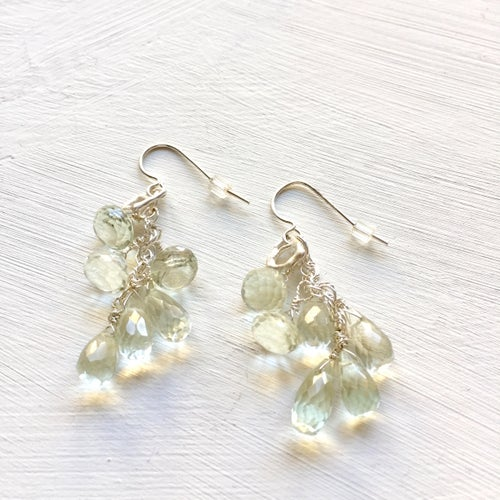 Image of Indian summer sterling silver earrings- green Amethyst 3-3