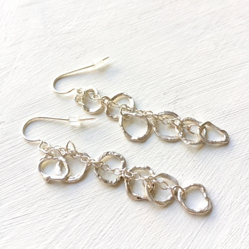 Image of Indian summer earrings long drops in sterling silver