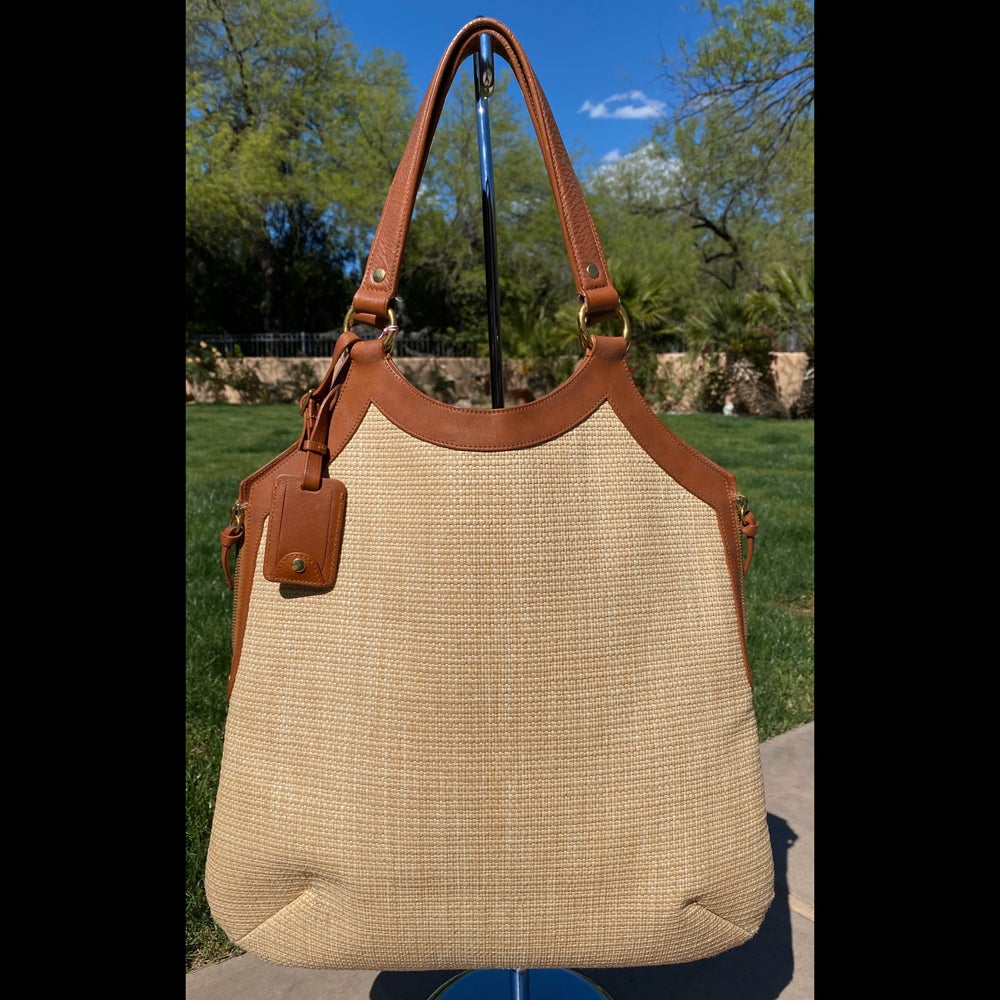 Image of YSL Straw and Leather Hobo Bag