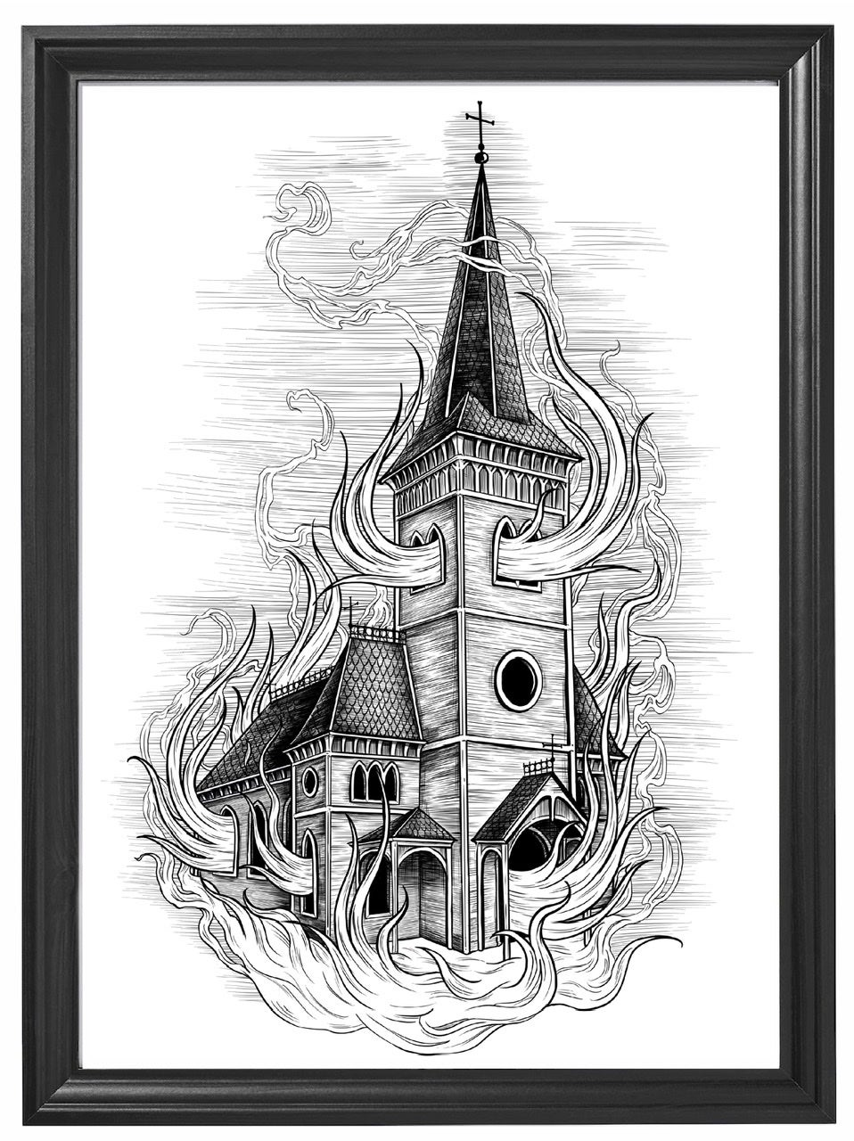 BURNING CHURCH - A3 PRINT LIMITED EDITION