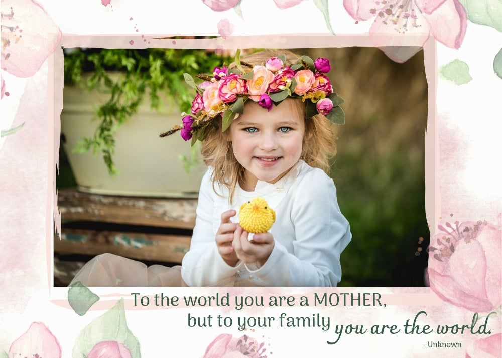 Image of Mother's Day Photoshop Template - Pink Floral