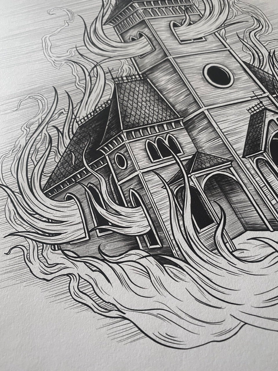 BURNING CHURCH - A3 PRINT LIMITED EDITION