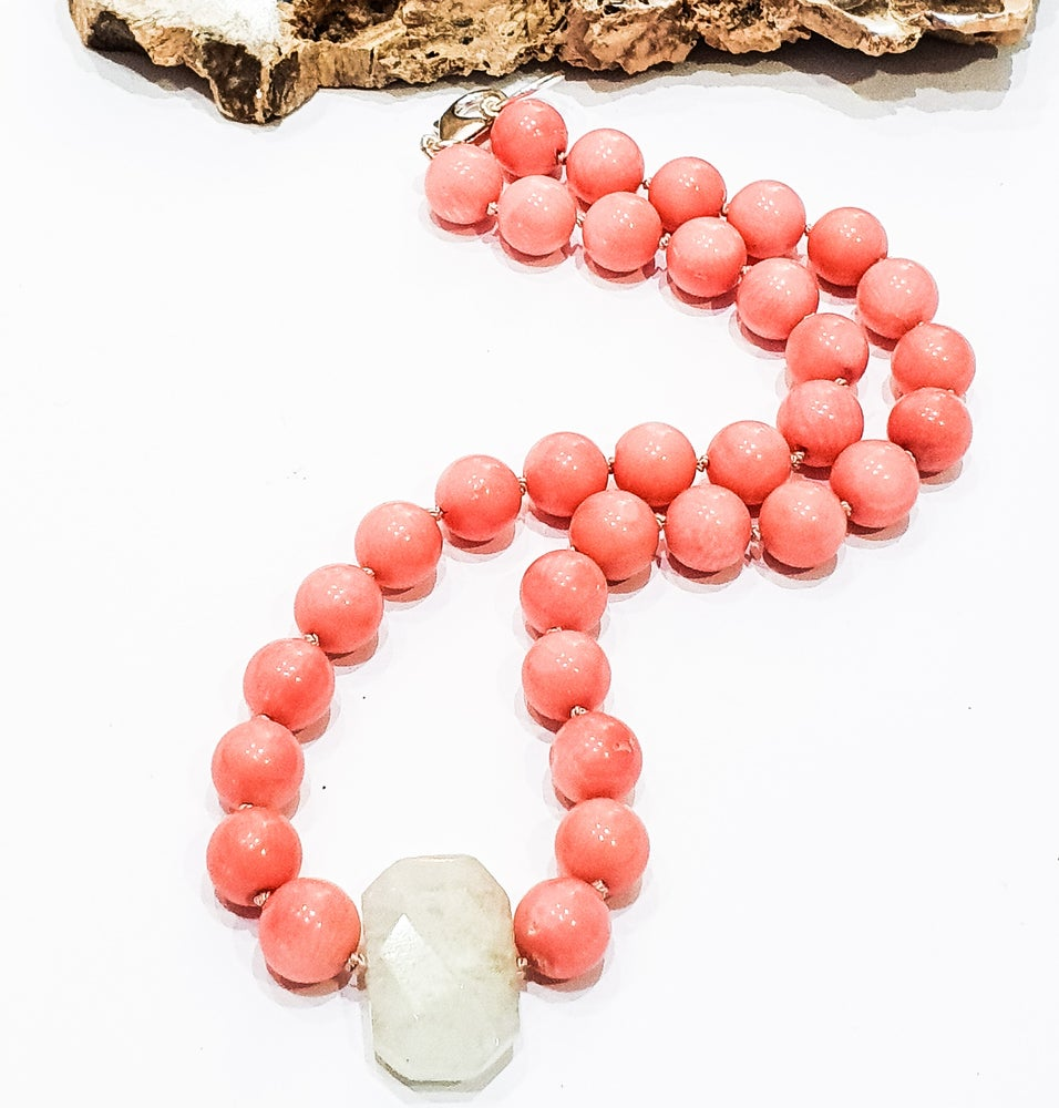 Image of Bamboo Coral and Aquamarine Necklace