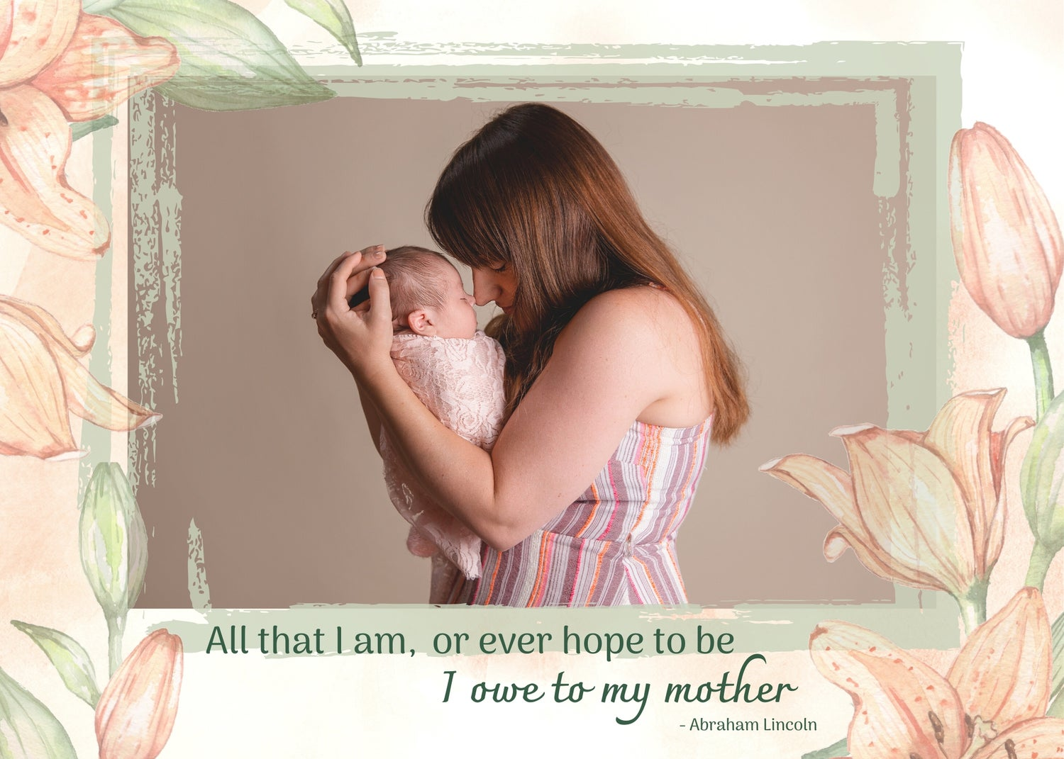 Image of Mother's Day Photoshop Template - Peach Floral