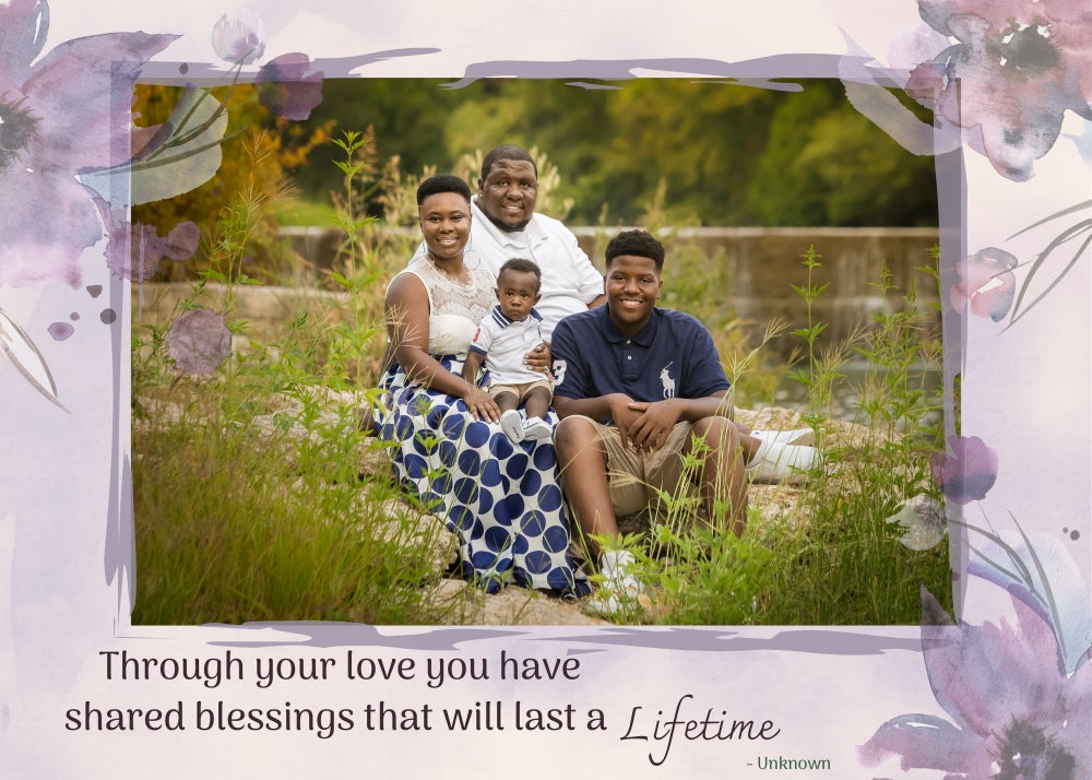 Image of Mother's Day Photoshop Template - Lilac Floral