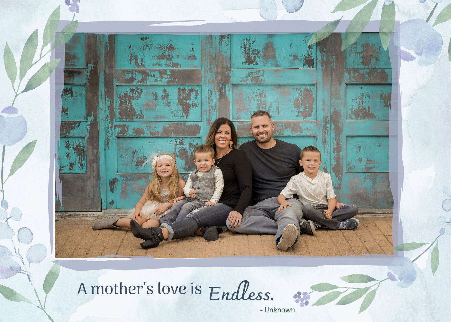 Image of Mother's Day Photoshop Template - Blue Floral