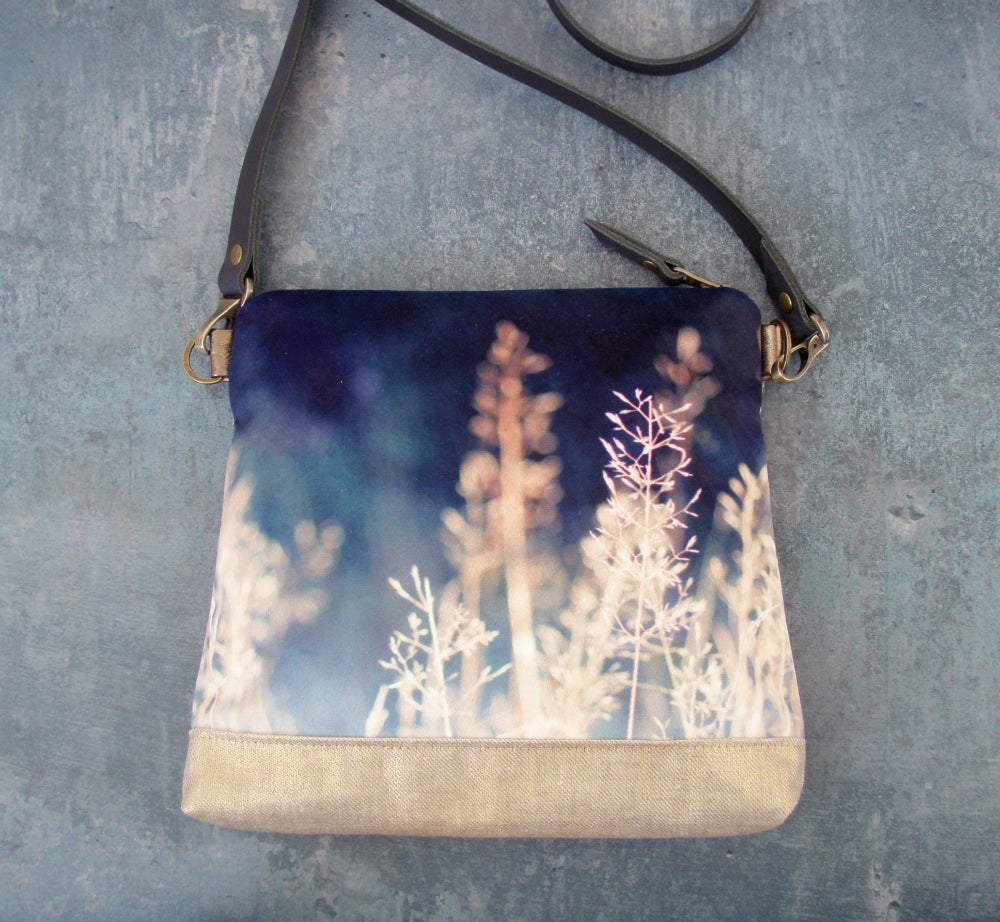 Image of Meadow grasses, gold and blue velvet shoulder bag with leather strap