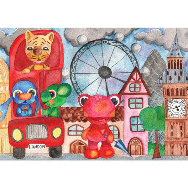 Image of Ilustración infantil animales en Londres Original