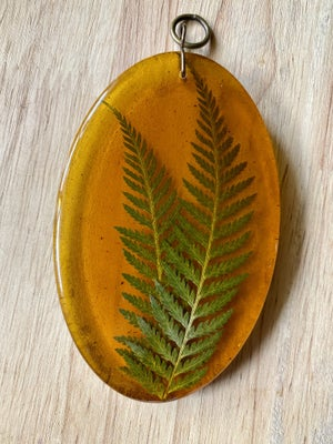 Image of Small Resin Faux Amber and Fern