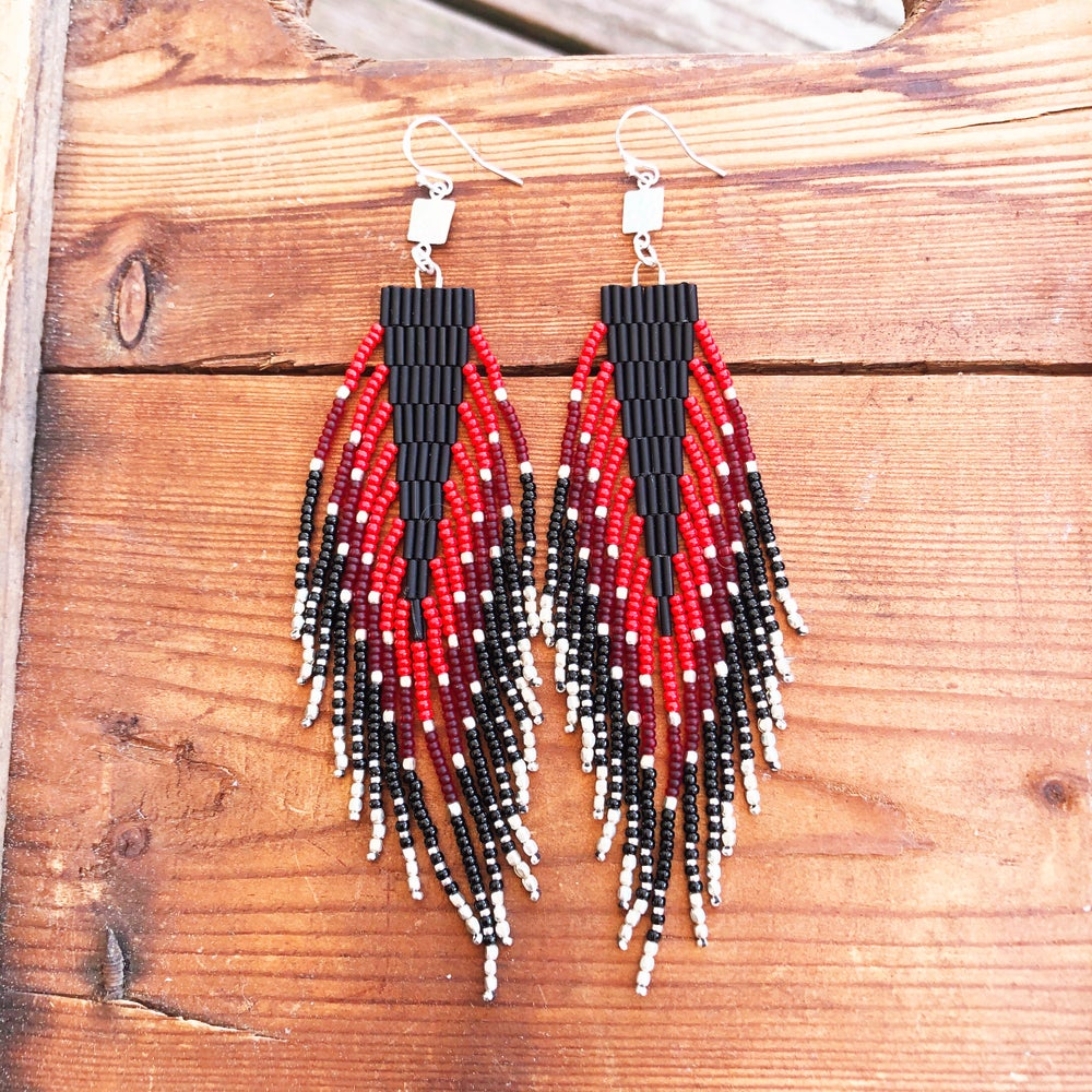 Image of Red, burgundy + black drop fringe earrings
