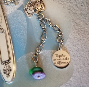 Image of Fine Silver- Handmade- Sea Glass- Bookmark- #320