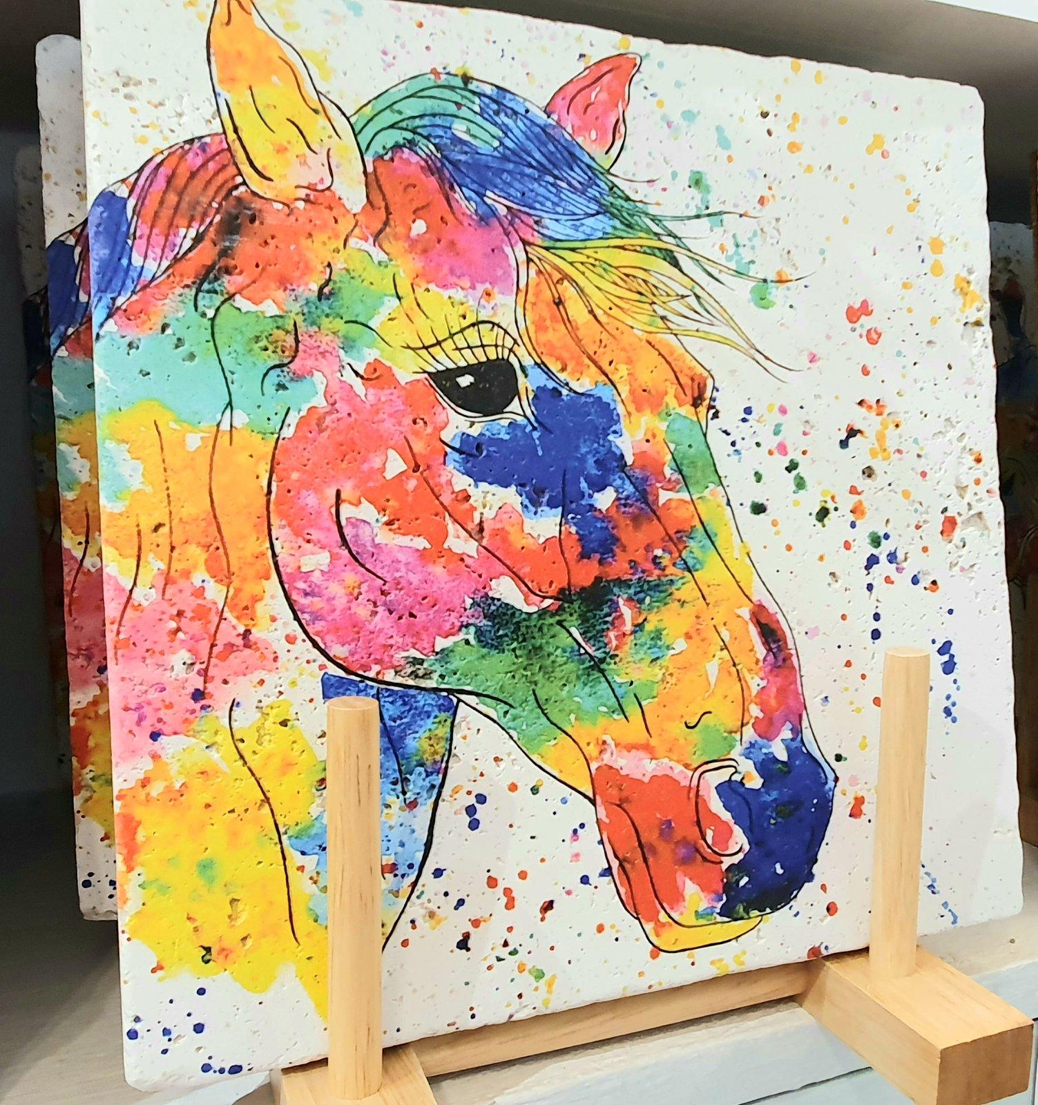 Rainbow Horse Stone Mats Blue Butterfly Designs
