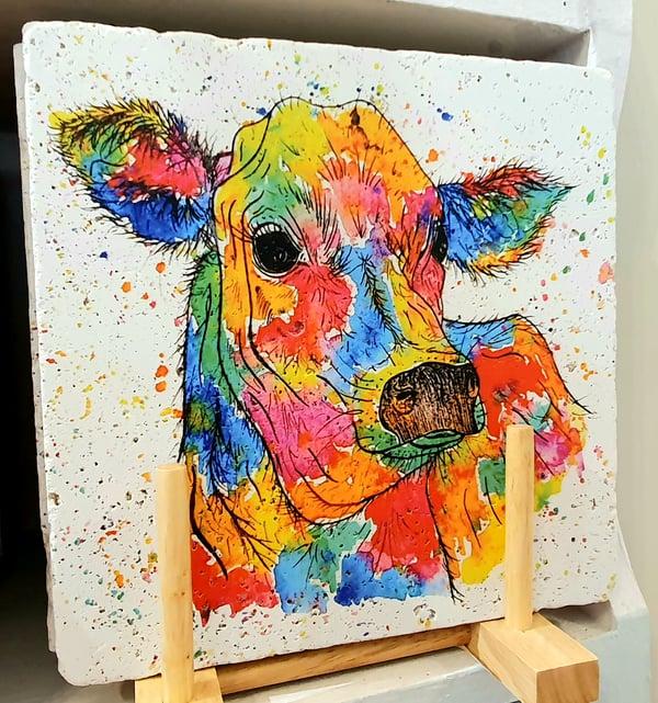 Image of Rainbow Cow Stone Mats