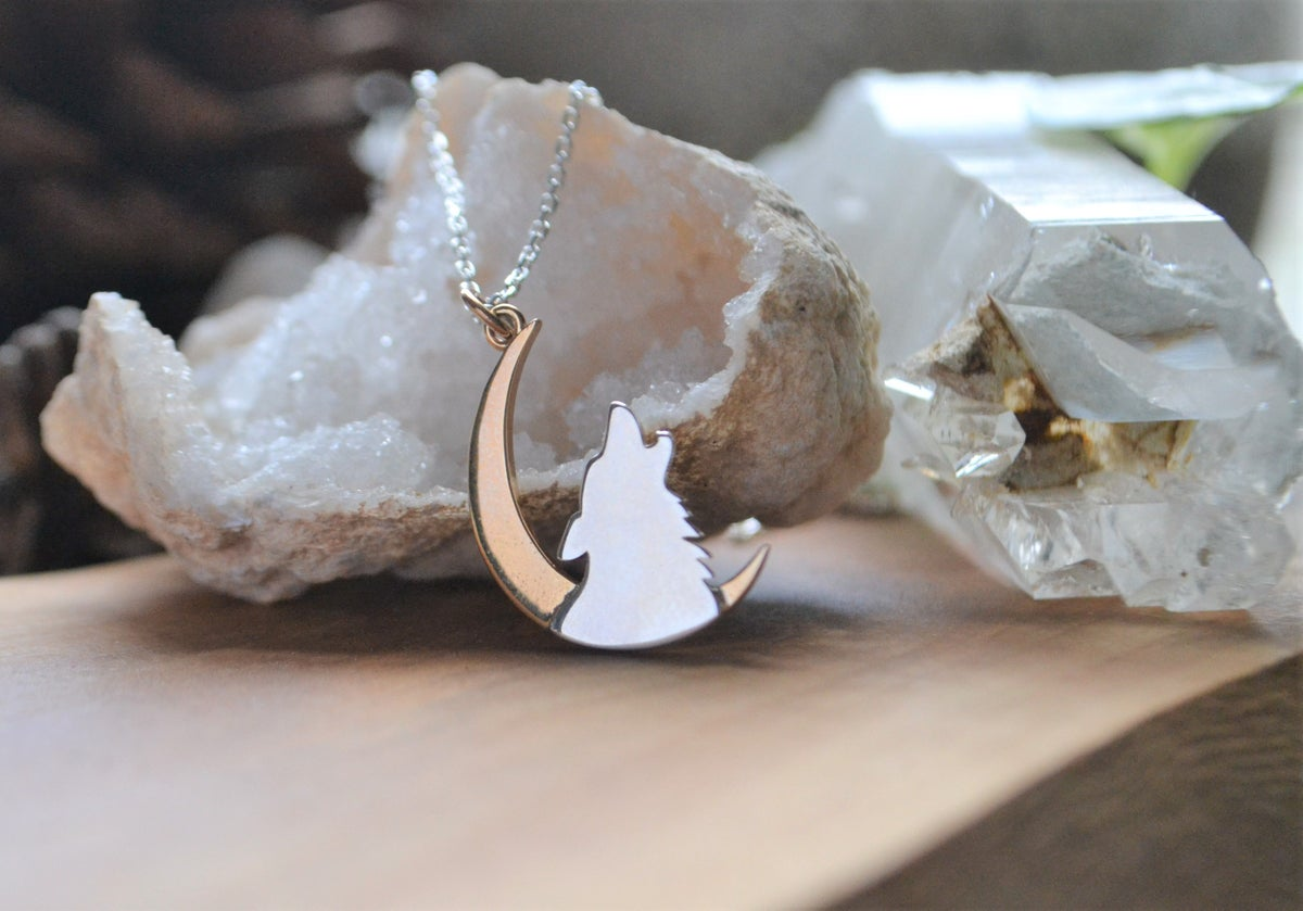 Image of Wolf and moon crescent necklace