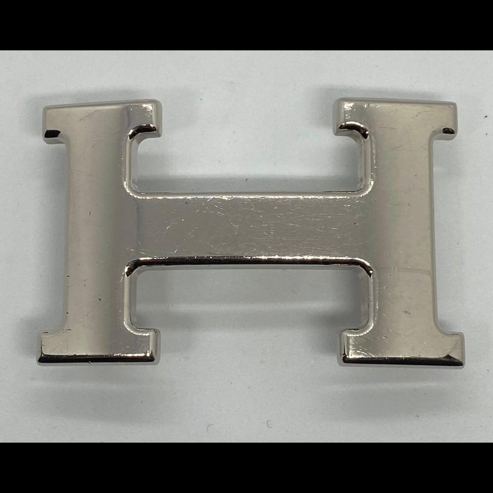 Image of Hermès Silver Tone H Belt Buckle