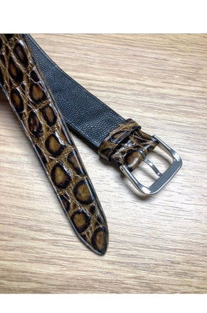 Image of Crocodile double tapered one-piece watch strap