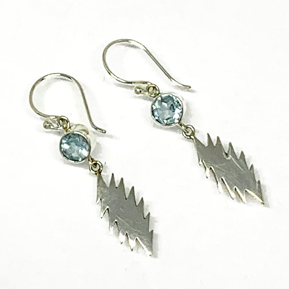 Image of 13 Point Bolt Earrings with Blue Topaz Drops