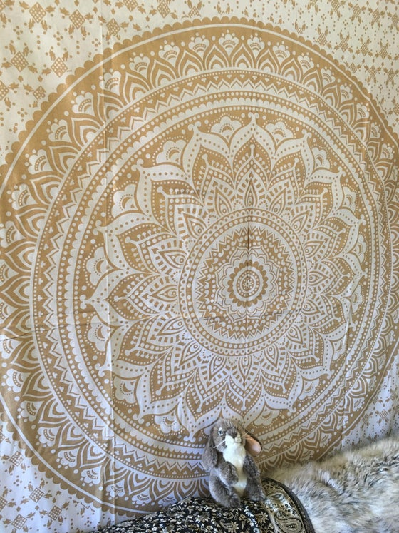 Image of Gold Mandala on White Tapestry