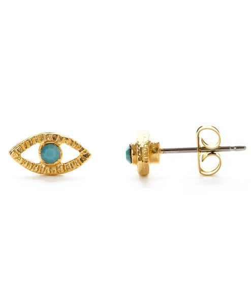 Image of Amano Turquoise Crystal Eye Stud Earrings