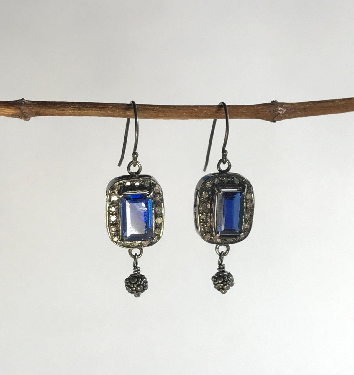 Kyanite and Diamond Earrings