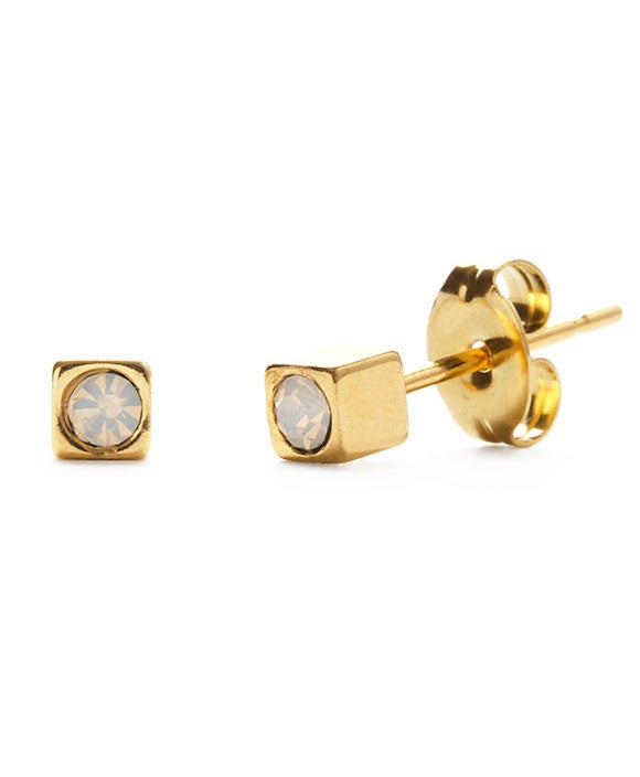 Image of Amano Gold Cube Studs with Opal Crystal