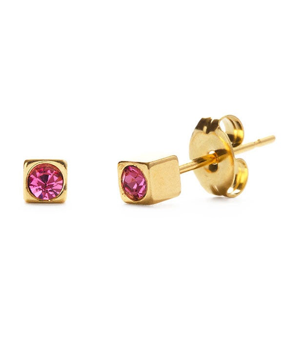 Image of Amano Gold Cube Studs with Rose Crystal