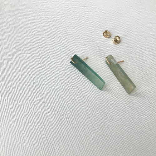 Image of Moss Agate Slice Earrings