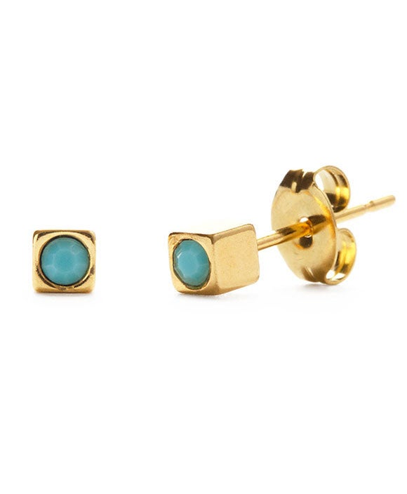 Image of Amano Gold Cube Studs with Turquoise Crystal