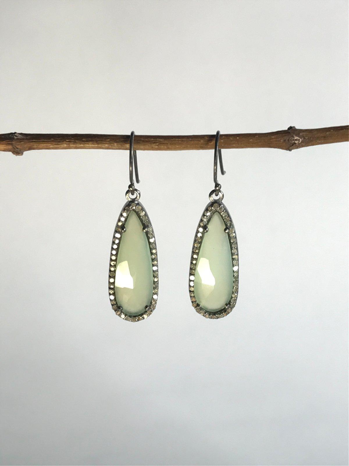 Pale Green Chalcedony and Diamond Teardrop Earrings