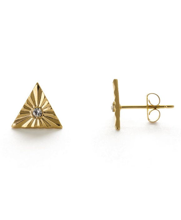 Image of Amano Glint Triangle Stud Earrings with Crystal
