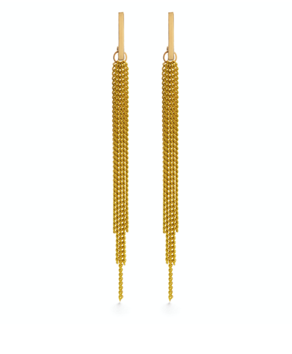 Image of Amano Chain Duster Stud Earrings in Yellow