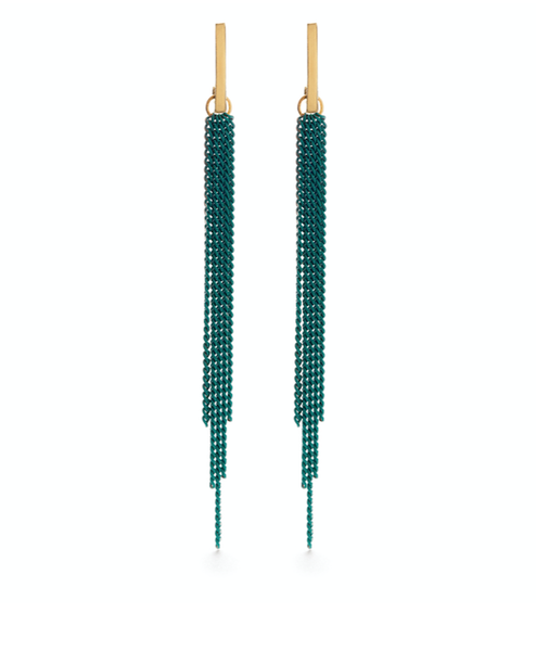 Image of Amano Chain Duster Stud Earrings in Turquoise