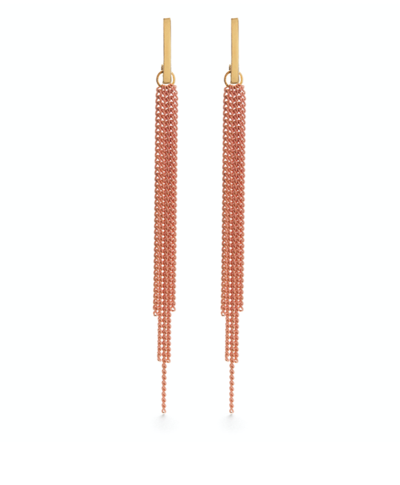Image of Amano Chain Duster Studs Earrings in Coral