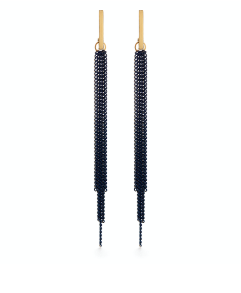 Image of Amano Chain Duster Stud Earrings in Indigo