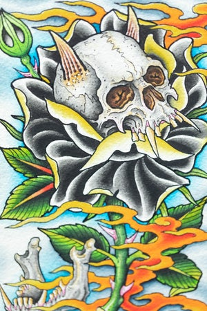 Image of SKULL AND BLACK ROSE