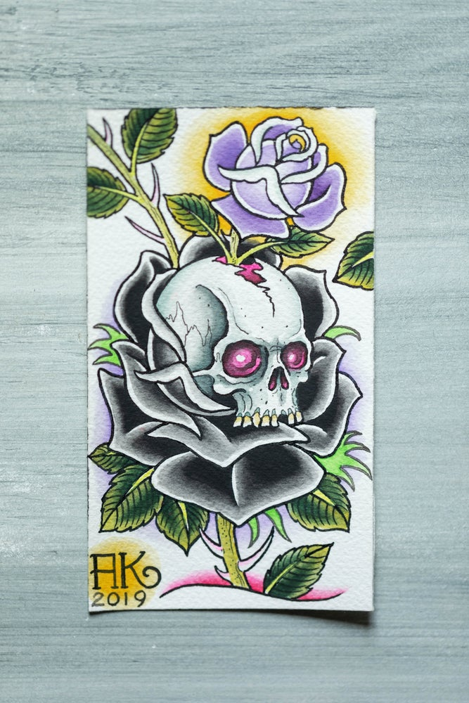 Image of SKULL AND PURPLE ROSE