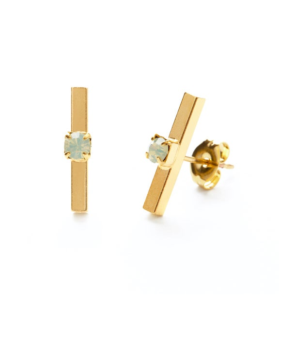 Image of Amano Gold Bar Studs with Opal Crystal