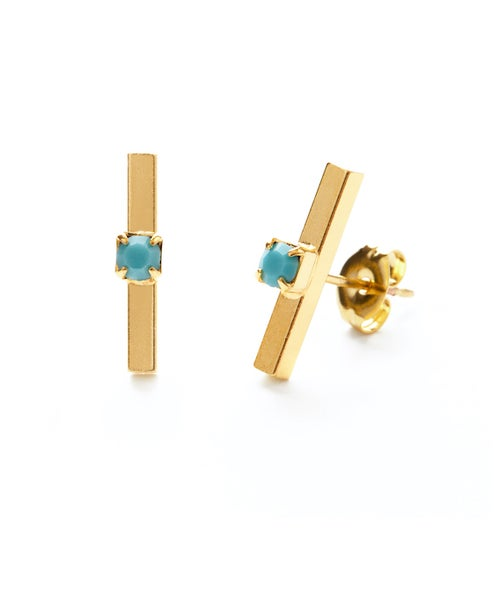 Image of Amano Gold Bar Studs with Turquoise Crystal