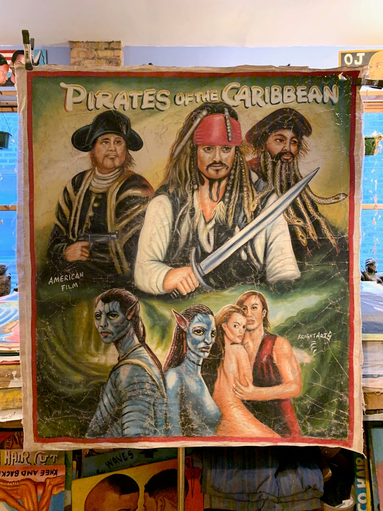Image of Deadly Prey - 'Pirates of the Caribbean'. Hand painted movie poster from Ghana