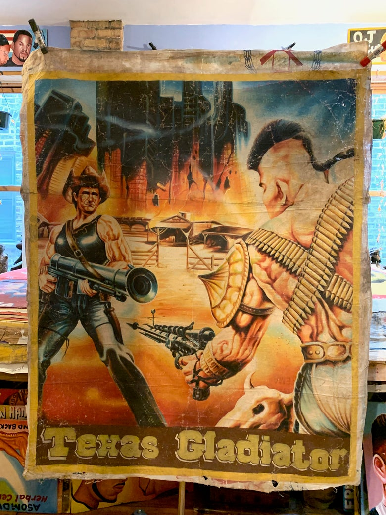 Image of Deadly Prey - 'Texas Gladiator'. Hand painted movie poster from Ghana