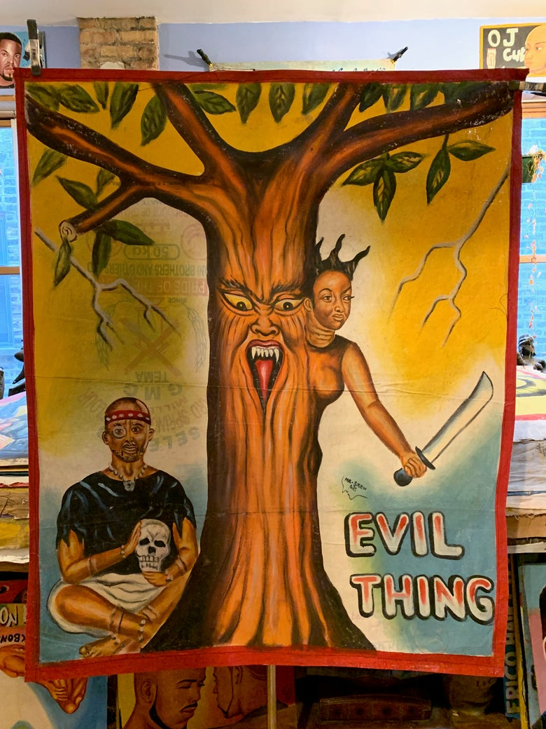 Image of Deadly Prey - 'Evil Thing'. Hand painted movie poster from Ghana
