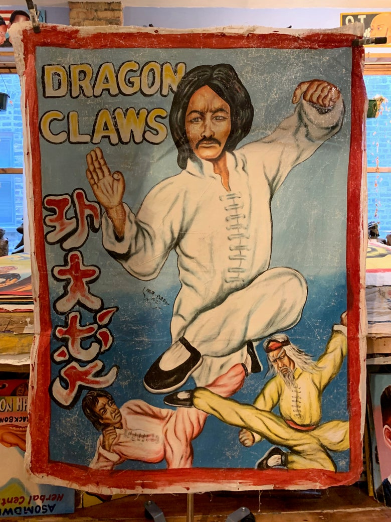 Image of Deadly Prey - 'Dragon Claws'. Hand painted movie poster from Ghana