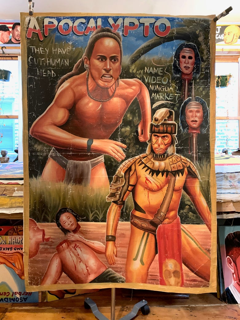Image of Deadly Prey - 'Apocalypto'. Hand painted movie poster from Ghana