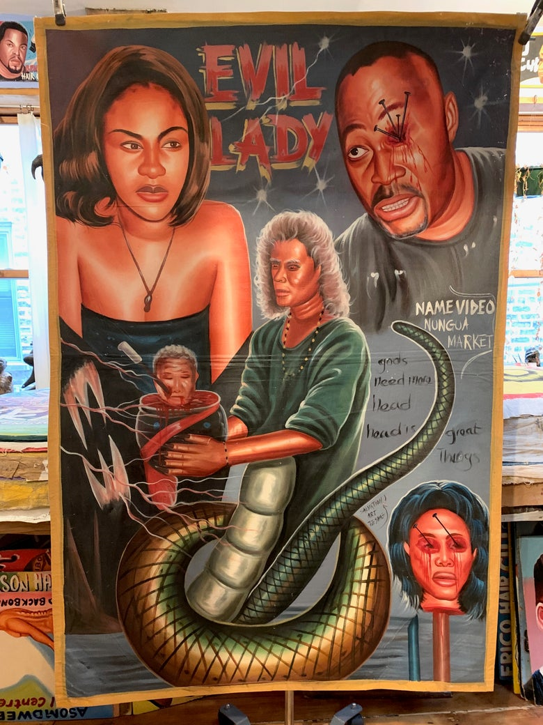 Image of Deadly Prey - 'Evil Lady'. Hand painted movie poster from Ghana