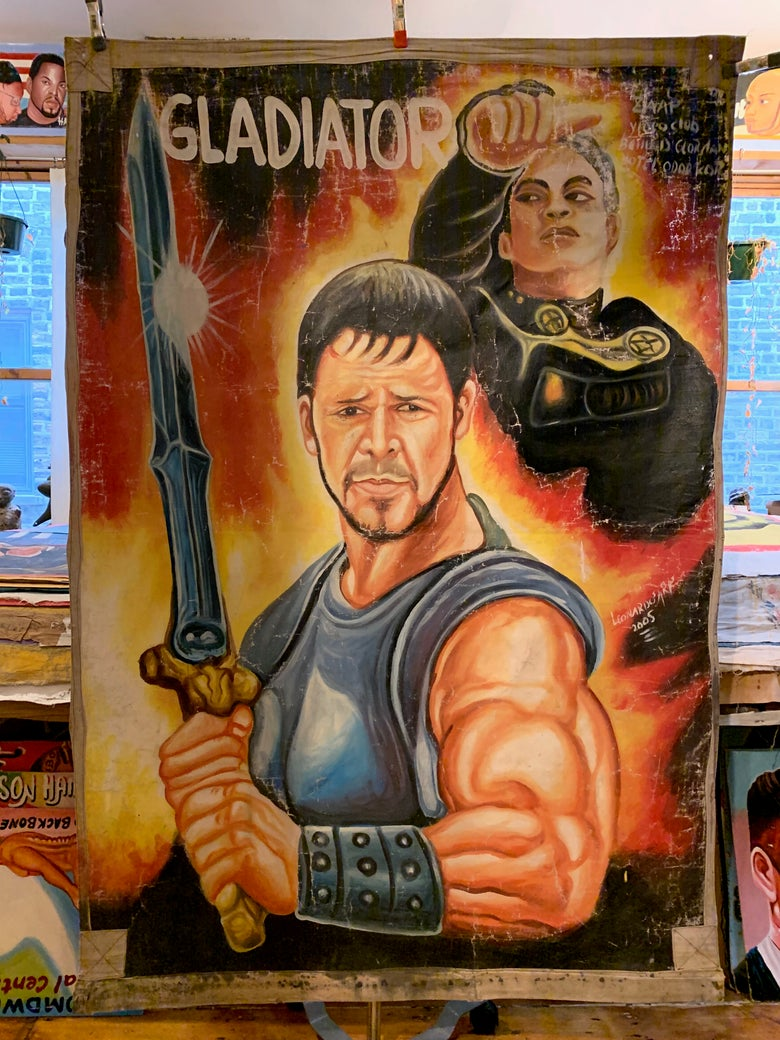 Image of Deadly Prey - 'Gladiator'. Hand painted movie poster from Ghana