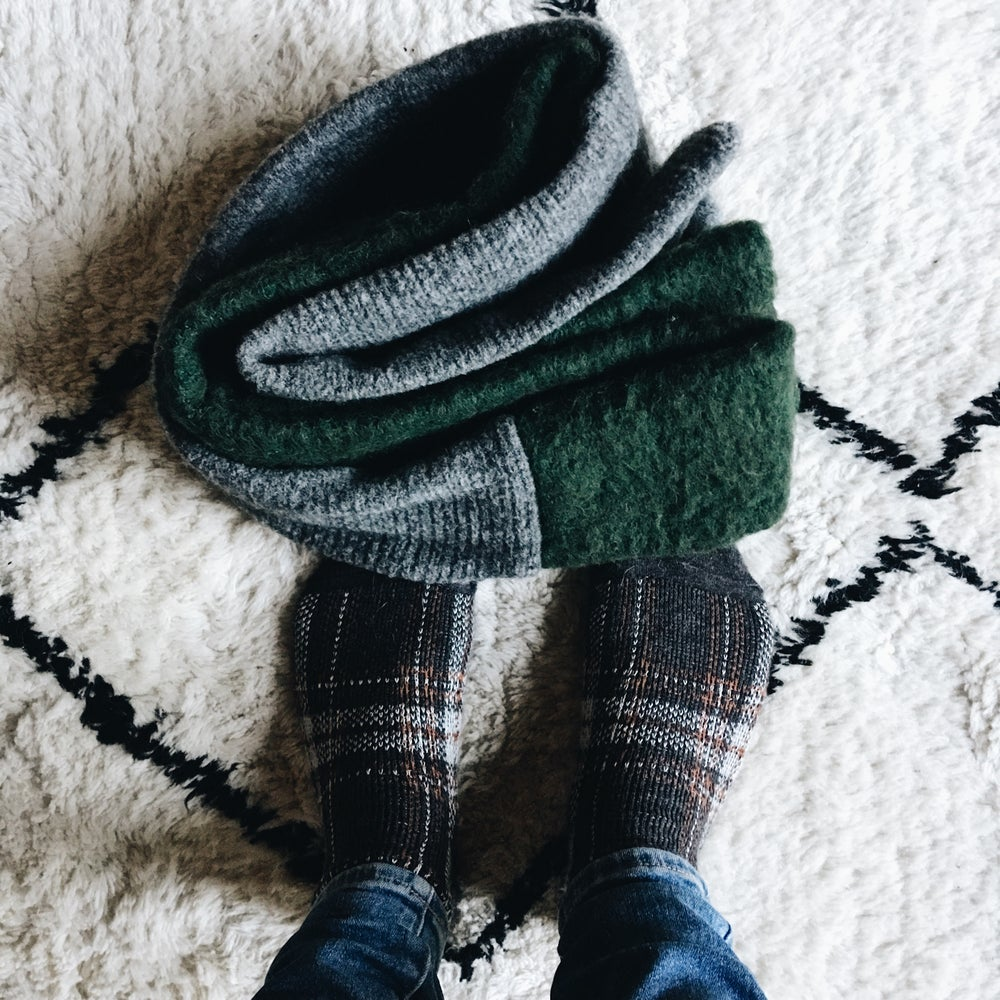 Image of Pine / grey long scarf