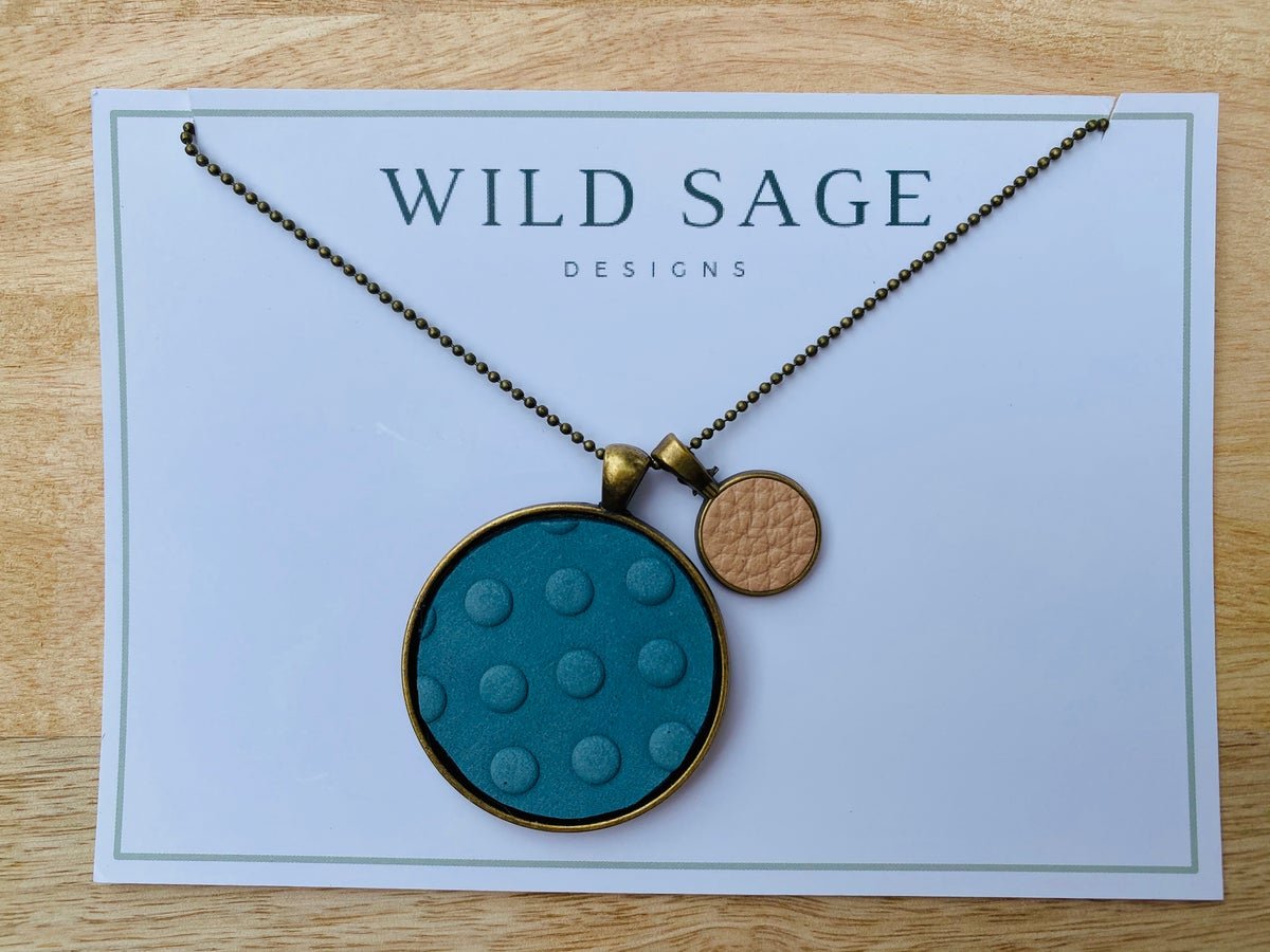 Image of Leather Disc Pendant in Teal and Bone